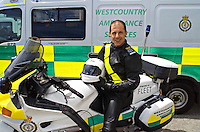 Rapid Response Ambulance Paramedic with his Motorcycle. This image may only be used to portray the subject in a positive manner..©shoutpictures.com..john@shoutpictures.com