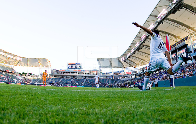 LA Galaxy midfielder Landon Donovan (10) sends a cornerkick over the middle. The Puerto Rico Islanders defeated the LA Galaxy 4-1 during CONCACAF Champions League group play at Home Depot Center stadium in Carson, California on Tuesday July 27, 2010.