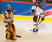 Hunter Miska (UMD - 35), Joey Anderson (UMD - 13) - The University of Minnesota Duluth Bulldogs defeated the Harvard University Crimson 2-1 in their Frozen Four semi-final on April 6, 2017, at the United Center in Chicago, Illinois.