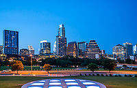 Austin Twilight Skyline  - We capture this image of Austin Twilight skyline from the Long Center circle of lights vantage point.  Now that most of the building in this area has been completed you can get a good capture without all the cranes.  You can barely see the frost bank building any longer after all the new high rise have been built at least from this angle.  This is what make this modern urban city so cool that it is constantly changing.