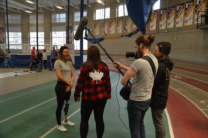 NOVEMBER 15, 2018: MONTREAL, QC, Chantal Beauchesne gives an interview at Paratough Cup.