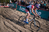 Mathieu Van der Poel (NED/Beobank-Corendon) speeding into 'The Pit'<br /> <br /> CX Superprestige Zonhoven 2016