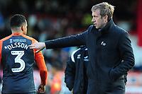 Graham Potter Manager of Swansea City speaks to Martin Olsson of Swansea City during the Sky Bet Championship match between Brentford and Swansea City at Griffin Park, Brentford, England, UK. Saturday 08 December 2018