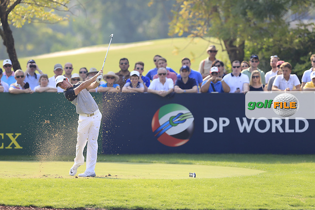Rory McIlroy (NIR) on the 13th tee during Round 2 of the DP World Tour Championship at the Earth course,  Jumeirah Golf Estates in Dubai, UAE,  20/11/2015.<br /> Picture: Golffile   Thos Caffrey<br /> <br /> All photo usage must carry mandatory copyright credit (&copy; Golffile   Thos Caffrey)