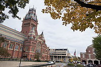 The ornate tower of Sanders Theater and Annenberg Hall (connected to the tower, lower at left) is seen at Harvard University in Cambridge, Massachusetts, USA, on Mon., Oct 15, 2018.