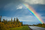 Bright rainbow over Glenn Highway with fall color foliages, Southcentral Alaska, Autumn.