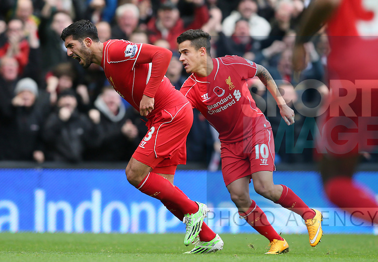 Emre Can of Loiverpool celebrates his goal  - Barclays Premier League - Liverpool vs Chelsea - Anfield Stadium - Liverpool - England - 8th November 2014  - Picture Simon Bellis/Sportimage
