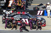 Apr 26, 2009; Talladega, AL, USA; NASCAR Sprint Cup Series driver Denny Hamlin pits during the Aarons 499 at Talladega Superspeedway. Mandatory Credit: Mark J. Rebilas-