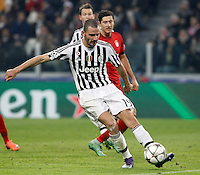 Calcio, andata degli ottavi di finale di Champions League: Juventus vs Bayern Monaco. Torino, Juventus Stadium, 23 febbraio 2016. <br /> Juventus&rsquo; Leonardo Bonucci in action during the Champions League round of 16 first leg soccer match between Juventus and Bayern at Turin's Juventus Stadium, 23 February 2016.<br /> UPDATE IMAGES PRESS/Isabella Bonotto