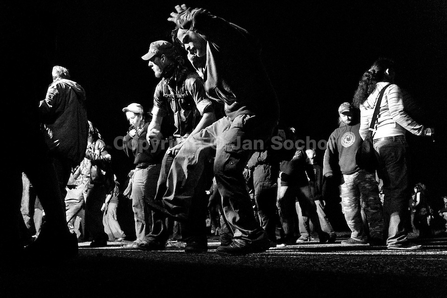 "Young people dance during the night at Czech Free Tekno Festival ""Czarotek"" close to Kv?tná, Czech Republic, 30 April 2009."