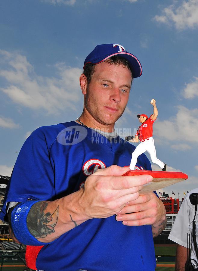 Jun. 18, 2008; Arlington, TX, USA; Texas Rangers right fielder Josh Hamilton prior to the game against the Atlanta Braves at the Rangers Ballpark. Mandatory Credit: Mark J. Rebilas-