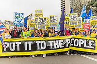 London, UK - March 23 2019: the put it to the people banner at the head of the procession during the demonstration the people Brexit march for people's vote protest. Photo Adamo Di Loreto/BuenaVista*photo
