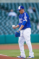 Oklahoma City Dodgers pitcher Freddy Garcia (47) tosses the rosin bag on the mound in a game against the Nashville Sounds at Chickasaw Bricktown Ballpark on April 15, 2015 in Oklahoma City, Oklahoma. Oklahoma City won 6-5. (William Purnell/Four Seam Images)