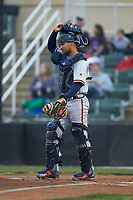 Rome Braves catcher Ricardo Rodriguez (8) on defense against the Kannapolis Intimidators at Kannapolis Intimidators Stadium on April 4, 2019 in Kannapolis, North Carolina.  The Braves defeated the Intimidators 9-1. (Brian Westerholt/Four Seam Images)