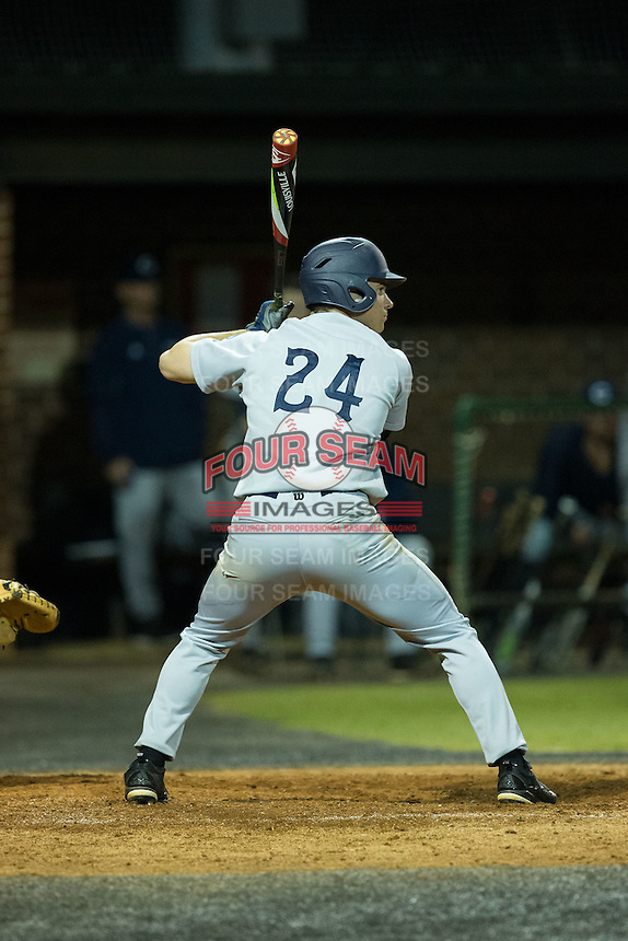 Kyle Smith (24) of the Catawba Indians at bat against the Belmont Abbey Crusaders at Abbey Yard on February 7, 2017 in Belmont, North Carolina.  The Crusaders defeated the Indians 12-9.  (Brian Westerholt/Four Seam Images)