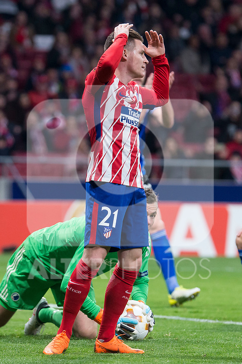 Atletico de Madrid Kevin Gameiro during Europa League match between Atletico de Madrid and FC Copenhague at Wanda Metropolitano in Madrid , Spain. February 22, 2018. (ALTERPHOTOS/Borja B.Hojas)