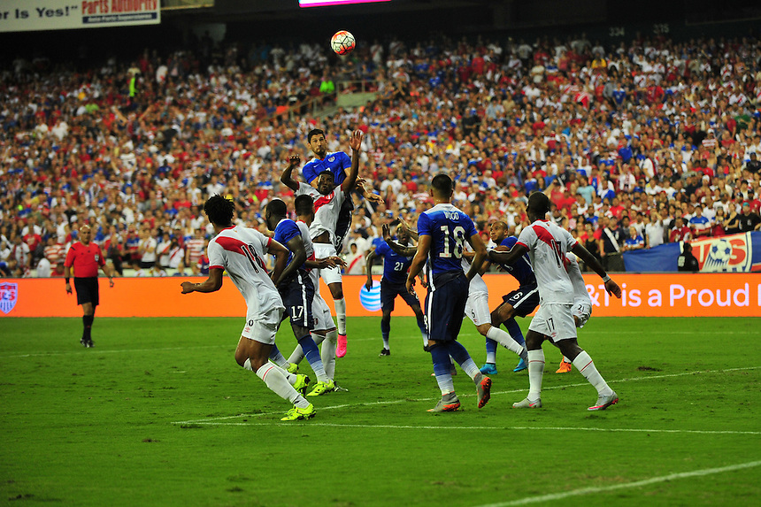 Team USA goes for the header during a penalty kick. USA defeated Peru 2-1 during a Friendly Match at the RFK Stadium in Washington, D.C. on Friday, September 4, 2015.  Alan P. Santos/DC Sports Box