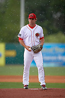 Florida Fire Frogs starting pitcher Bryse Wilson (20) takes the mound to warm up as it starts to rain during a game against the Daytona Tortugas on April 7, 2018 at Osceola County Stadium in Kissimmee, Florida.  Daytona defeated Florida 4-3 in a six inning rain shortened game.  (Mike Janes/Four Seam Images)