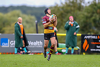 Louis Grimoldby of Ampthill Rugby during the Greene King IPA Championship match between Ampthill RUFC and Nottingham Rugby on Ampthill Rugby's Championship Debut at Dillingham Park, Woburn St, Ampthill, Bedford MK45 2HX, United Kingdom on 12 October 2019. Photo by David Horn.