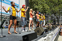 "NEW YORK - AUGUST 16: Cast of ""Bring It On"" on stage during 106.7 Lite FM Presents Broadway in Bryant Park on August 16, 2012 in New York City. (Photo byMPI81/MediaPunchInc)"