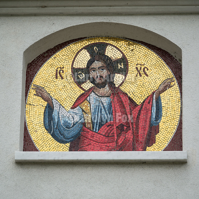 Rakovica monastery, rain, site where His Holyness in repose, Pavle is entombed.<br /> <br /> Mosaic icon of Jesus Christ