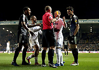 Leeds United's Ezgjan Alioski is shown a yellow card by Referee Michael Dean after he went down in the penalty area under the challenge from Reading's Tiago Ilori <br /> <br /> Photographer Rich Linley/CameraSport<br /> <br /> The EFL Sky Bet Championship - Leeds United v Reading - Tuesday 27th November 2018 - Elland Road - Leeds<br /> <br /> World Copyright © 2018 CameraSport. All rights reserved. 43 Linden Ave. Countesthorpe. Leicester. England. LE8 5PG - Tel: +44 (0) 116 277 4147 - admin@camerasport.com - www.camerasport.com