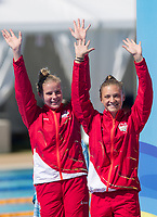 Picture by Alex Whitehead/SWpix.com - 11/04/2018 - Commonwealth Games - Diving - Optus Aquatics Centre, Gold Coast, Australia - Katherine Torrance and Alicia Blagg of England win Silver in the Women's 3m Synchro final.