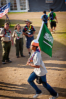 Scout from Saudi Arab heading for the arena event on time road. Photo: André Jörg/ Scouterna