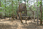 Angkorian temple Prasat Damrei at Koh Ker (early 10th century).<br /> Koh Ker temple complex is a remote archaeological site in the jungle of Preah Vihear province in northern Cambodia. Inscriptions found at the site say the name of the ancient town was Chok Gargyar. Briefly in the reign of Jayavarman IV and Harshavarman II (928–944 AD) it was the capital of the Khmer Empire.Koh Ker was also known as Lingapura (City of Lingams), all of the monuments here are dedicated to Hindu deities, mainly Shiva.