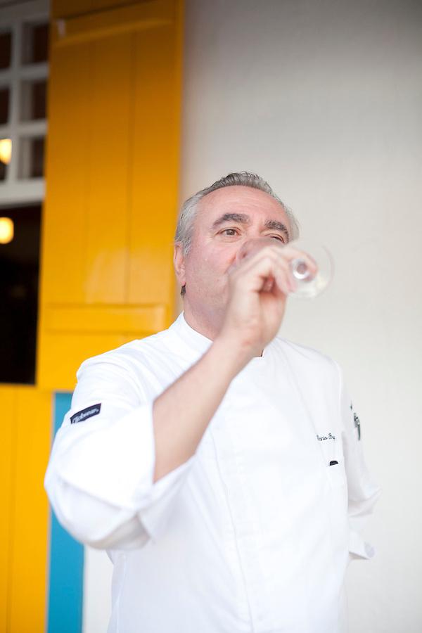 Chef Danio Braga at his restaurant, Sollar, along Orla Bardot, Buzios