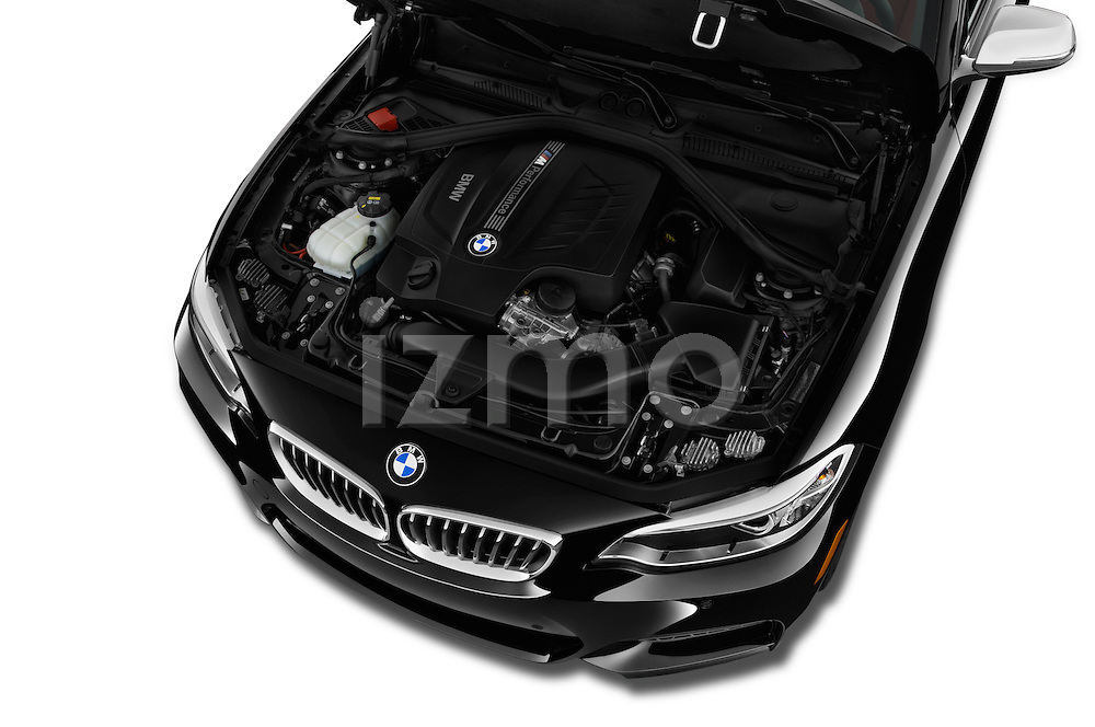 Car Stock 2017 BMW 2-Series M240i 2 Door Coupe Engine  high angle detail view