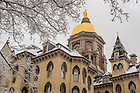 Feb. 25, 2016; Golden dome after snowfall. (Photo by Barbara Johnston/University of Notre Dame)