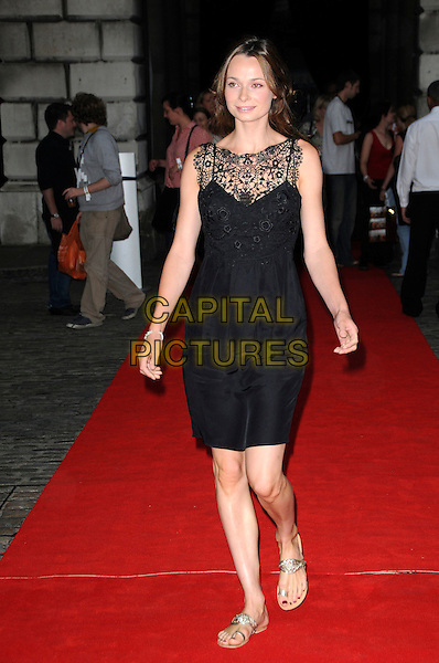 "ANNA WALTON.The ""Hellboy II: The Golden Army "" FilmFour Summer Screen Opening Gala, Somerset House, London, England..July 31st 2008.2 hell boy screening premiere full length black dress lace gold sandals flats .CAP/CAS.©Bob Cass/Capital Pictures."