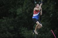 FIERLJEPPEN/POLSSTOKVERSPRINGEN: 03-09-2016, Linschoten, Pollepleats Nationale Competitie, Jaco de Groot springt pr 21.57 meter, ©foto Martin de Jong