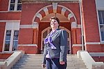 Christine Eick poses for a portrait in front of Auburn University's Samford Hall,  the school's main administration building in Auburn, Alabama, November 18, 2009. Eick is the executive director of the Risk Management and Safety Departments at the school.