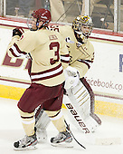Patch Alber (BC - 3), Parker Milner (BC - 35) - The Boston College Eagles defeated the visiting Northeastern University Huskies 3-0 after a banner-raising ceremony for BC's 2012 national championship on Saturday, October 20, 2012, at Kelley Rink in Conte Forum in Chestnut Hill, Massachusetts.
