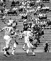 Oakland Raiders Art Powell #84 hauls in pass...against the Kansas City Chiefs at old Frank Youell Field in Oakland. (1965 photo/Ron Riesterer)