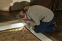 15/04/19<br /> <br /> Conservator Michelle Harper examines a King James II bedspread at Sizergh castle. It's the first time in more than 30 years, the 17th-century Goan bedspread associated with King James II has gone on public display at the National Trust's Sizergh castle, Cumbria.<br /> <br /> <br /> All Rights Reserved, F Stop Press Ltd +44 (0)7765 242650  www.fstoppress.com rod@fstoppress.com