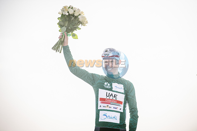 Rui Costa (POR) UAE Team Emirates wins Stage 1 and takes the first leaders Green Jersey of the Saudi Tour 2020 running 173km from Saudi Arabian Olympic Committee to Jaww, Saudi Arabia. 4th February 2020. <br /> Picture: ASO/Pauline Ballet | Cyclefile<br /> All photos usage must carry mandatory copyright credit (© Cyclefile | ASO/Pauline Ballet)
