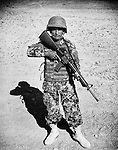Private Khodai Daad, of the Afghan National Army, is seen at the Regional Military Training Centre in helmand, 12 November 2012. This portrait was shot on a 5x4 Linhof Technika IV, circa 1959, and a Voigtlander Braunschweig Heliar 15cm lens, circa 1922. (John D McHugh)