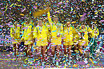 The Australian Diamonds walk to photographers after being crowned world champions, defeating New Zealand's Silver Ferns 58-55 in the 2015 Netball World Cup Gold Medal Match between Australia and New Zealand at Allphones Arena. Sydney, Australia on Sunday, August 16th, 2015 in Sydney, Australia. (Photo: Steve Christo)