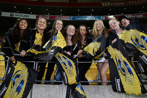 09.04.2016. Wellington, New Zealand.  Hurricanes fans during the Hurricanes versus Jaguares Super Rugby match at the Westpac Stadium in Wellington on Saturday 9thApril 2016.