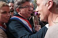 CLEMENTINE AUTAIN, JEAN-LUC MELENCHON, PHILIPPE POUTOU - MANIFESTATION DE LA FRANCE INSOUMISE A PARIS, FRANCE, LE 23/09/2017.