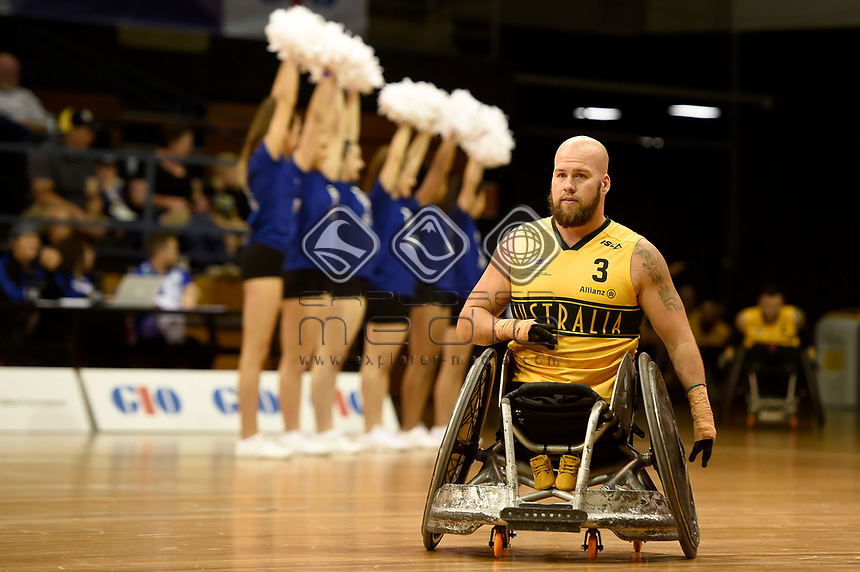 Opening Ceremony - Ryley Batt (Aus)<br /> Australian Wheelchair Rugby Team<br /> 2018 IWRF WheelChair Rugby <br /> World Championship / Day 1<br /> Sydney  NSW Australia<br /> Sunday 5th August 2018<br /> &copy; Sport the library / Jeff Crow / APC