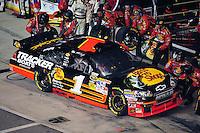 May 2, 2009; Richmond, VA, USA; NASCAR Sprint Cup Series driver Martin Truex Jr pits during the Russ Friedman 400 at the Richmond International Raceway. Mandatory Credit: Mark J. Rebilas-