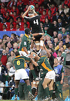 New Zealand skipper Chris Smith claims this lineout ball during the U19 Championship final against South Africa at Ravenhill, Belfast.