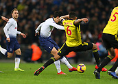 30th January 2019, Wembley Stadium, London England; EPL Premier League football, Tottenham Hotspur versus Watford; Son Heung-Min of Tottenham Hotspur shoots to score his sides 1st goal in the 80th minute to make it 1-1