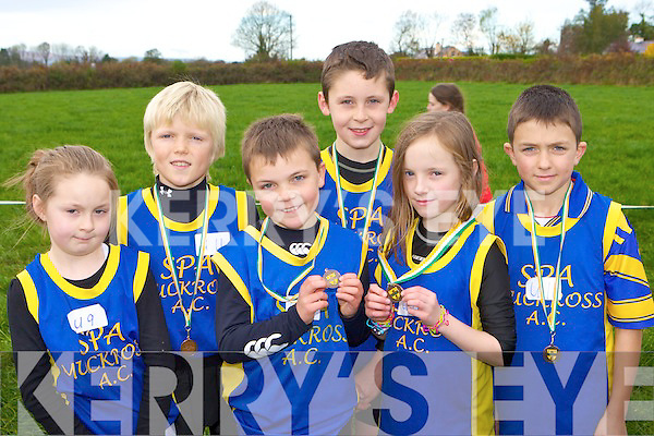 Aoibhe O'Doherty, Tristan O'Donoghue, Peter O'Sullivan, Kianan O'Doherty, Ruth Courtney and John O'Donoghue Spa/Muckross who won medals at the Kerry Cross Country athletics finals in Currow on Sunday