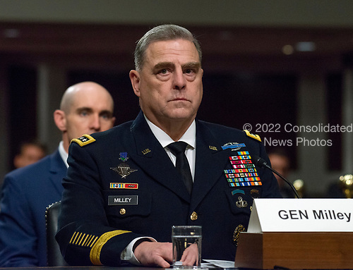 """United States Army General Mark A. Milley, Chief of Staff of The Army, appears before the US Senate Committee on Armed Services to give testimony """"on the posture of the Department of the Army in review of the Defense Authorization Request for Fiscal Year 2019 and the Future Years Defense Program"""" on Capitol Hill in Washington, DC on Thursday, April 12, 2018.<br /> Credit: Ron Sachs / CNP"""
