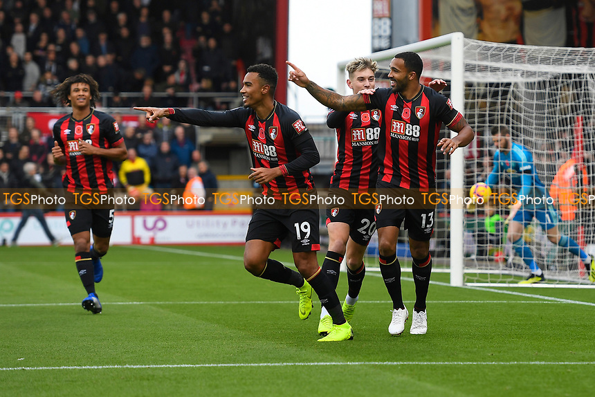Callum Wilson of AFC Bournemouth right celebrates scoring the first goal during AFC Bournemouth vs Manchester United, Premier League Football at the Vitality Stadium on 3rd November 2018